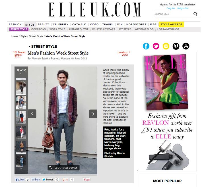 Rob Soar Elle Magazine Street Style